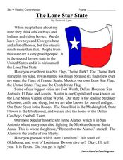 """The Lone Star State""  Reading Comprehension Worksheet"