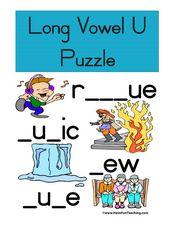 "Long Vowel ""U"" Puzzle Worksheet"