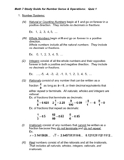 Math 7 Study Guide for Number Sense and Operations: Quiz 1 Worksheet