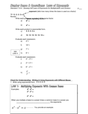 Number Sense & Operations: Laws of Exponents Worksheet