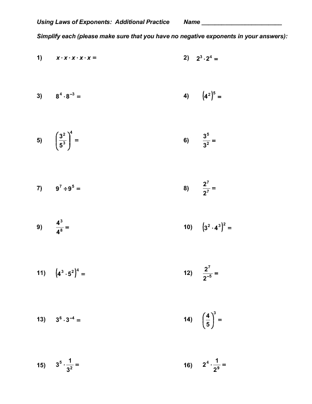 Using Laws of Exponents: Additional Practice Worksheet for ...
