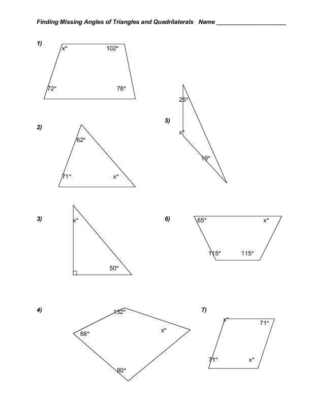 Finding Missing Angles Of Triangles And Quadrilaterals