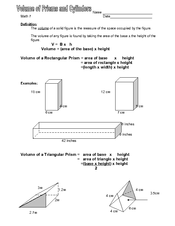 Math 7: Volume of Prisms and Cylinders Worksheet for 6th ...