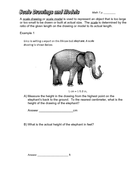 Scale Drawings and Models Worksheet for 7th - 8th Grade ...