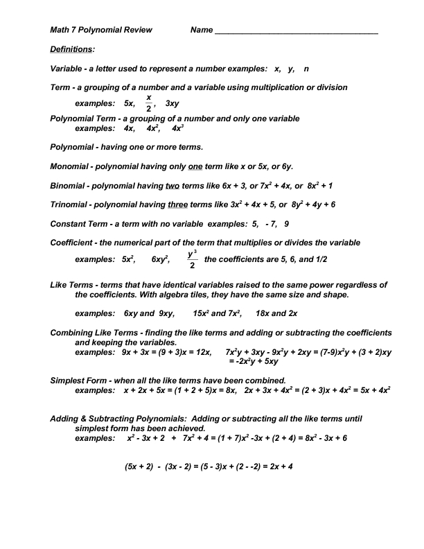 Math 7 Polynomial Review Worksheet for 9th   12th Grade ...