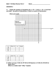 Math 7 - 35 Week Review Part 2: Systems of Equations Worksheet