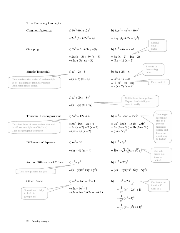 2 1 Factoring Concepts Grouping Worksheet For 9th