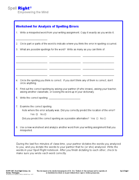 analysis of spelling errors worksheet for 4th 8th grade lesson planet. Black Bedroom Furniture Sets. Home Design Ideas