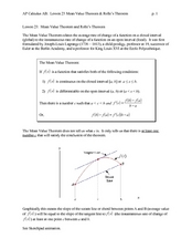 Mean Value Theorem and Rolle's Theorem Worksheet