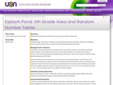 ExplorA-Pond: 6th Grade Area and Random Number Tables Lesson Plan