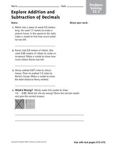 Explore Addition and Subtraction of Decimals Worksheet