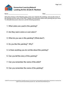 Looking at Art: Realism Worksheet