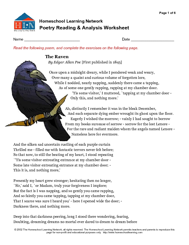 Poetry Reading and Analysis Worksheet The Raven 6th 10th Grade – Edgar Allan Poe Worksheets