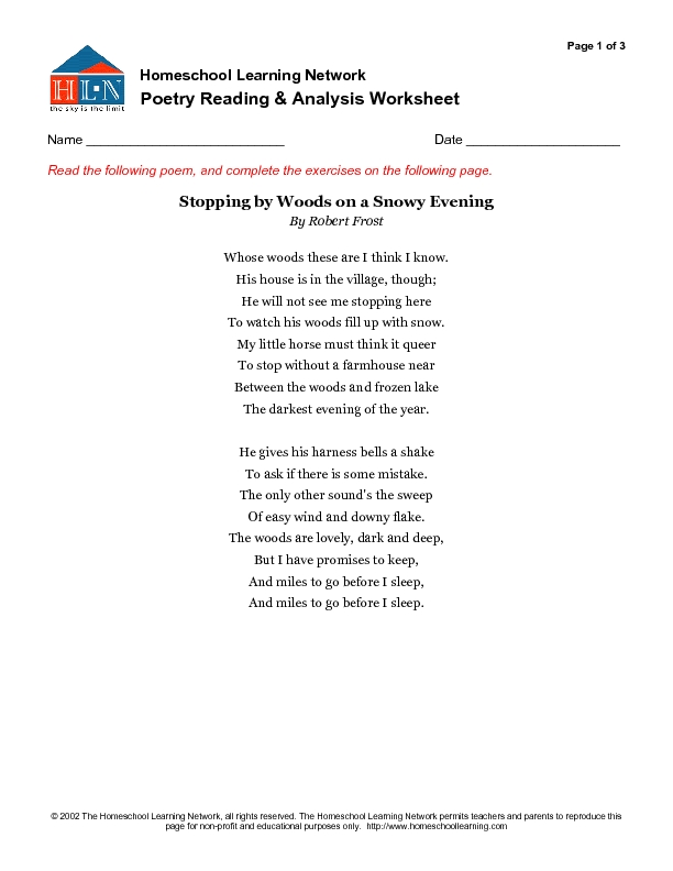 poetry reading and analysis worksheet stopping by woods on a  poetry reading and analysis worksheet stopping by woods on a snowy evening 7th 9th grade worksheet lesson planet