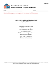 "Poetry Reading and Analysis Worksheet - ""There is no Frigate Like a Book"" Graphic Organizer"