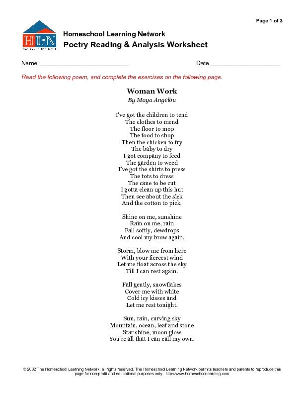 Poetry Reading And Analysis Worksheet Woman Work By Maya Angelou