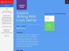 Explore Writing with Louis Sachar Lesson Plan