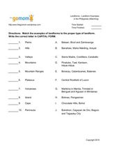 landforms landform examples in the philippines matching worksheet for 5th 8th grade. Black Bedroom Furniture Sets. Home Design Ideas