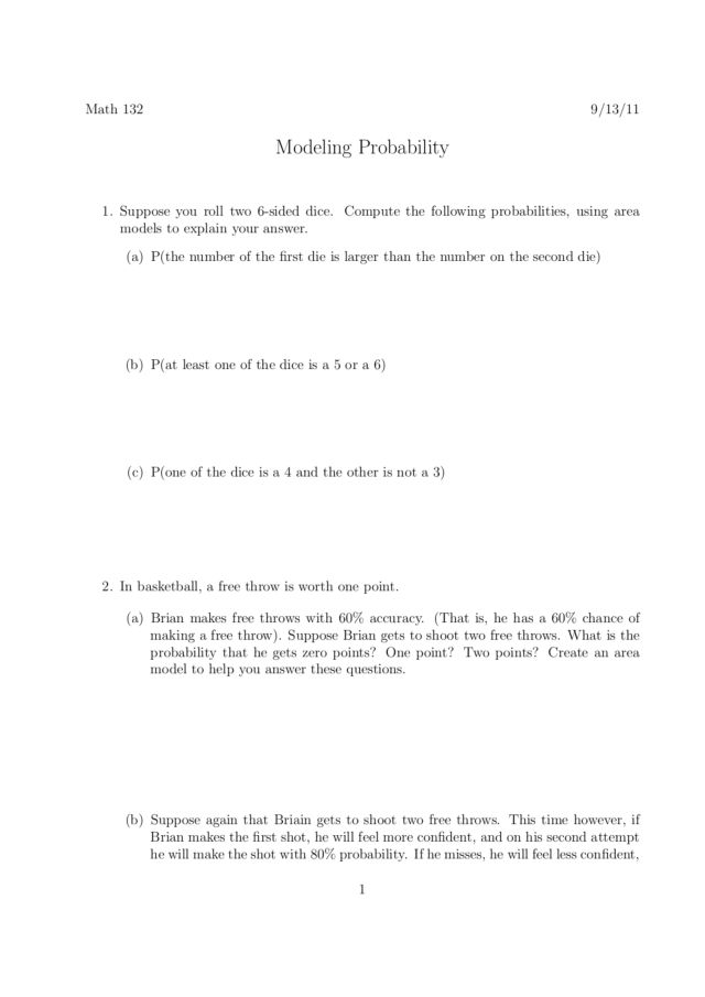 modeling probability worksheet for 6th 8th grade lesson planet. Black Bedroom Furniture Sets. Home Design Ideas