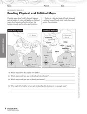 Reading Physical and Political Maps Worksheet