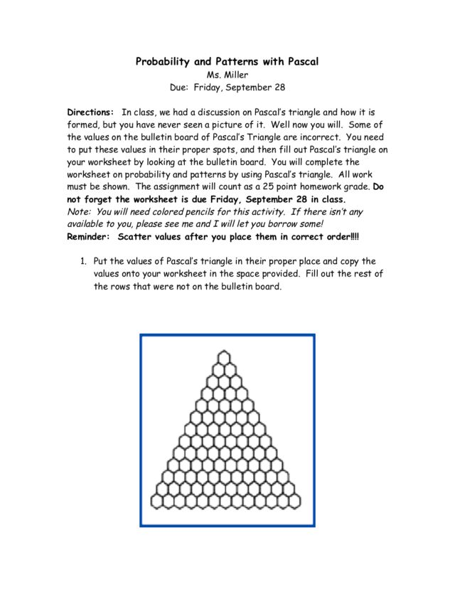 Probability and Patterns with Pascal Worksheet