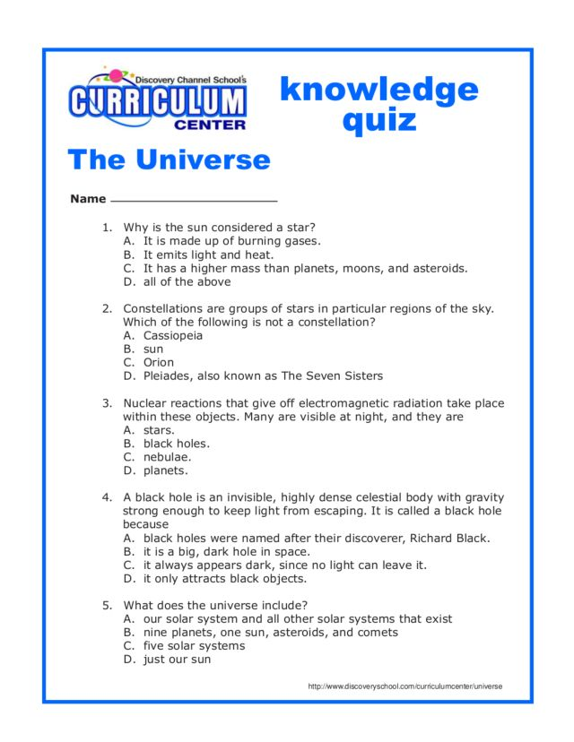 Knowledge Quiz: The Universe Worksheet for 6th - 8th Grade ...