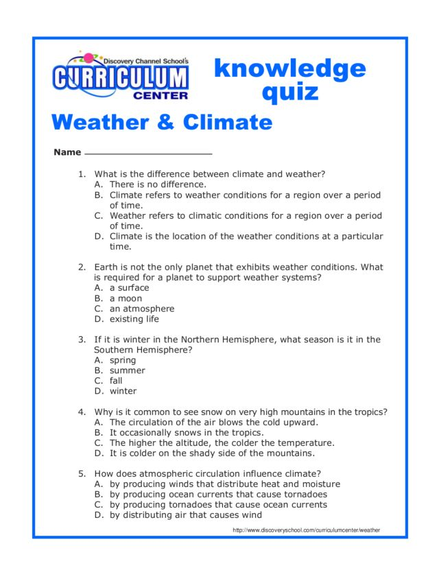 Weather Climate Knowledge Quiz Worksheet For 5th 7th Grade