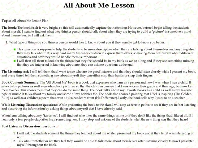 All About Me Lesson Lesson Plan