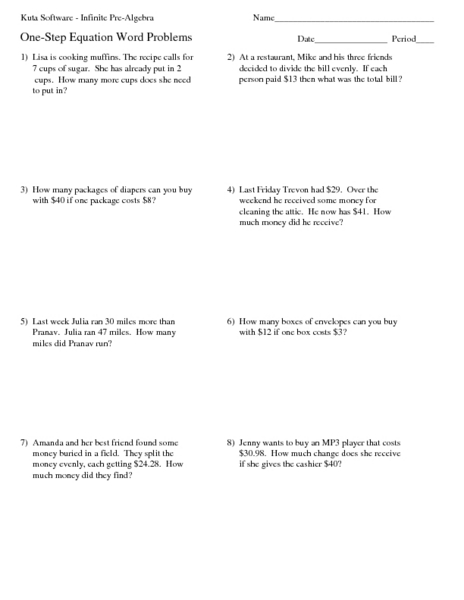 One-Step Equation Word Problems 4th - 5th Grade Worksheet | Lesson ...