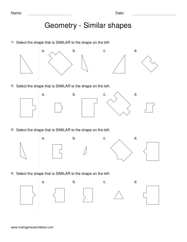 Geometry --Similar Shapes Worksheet for 2nd - 3rd Grade | Lesson ...