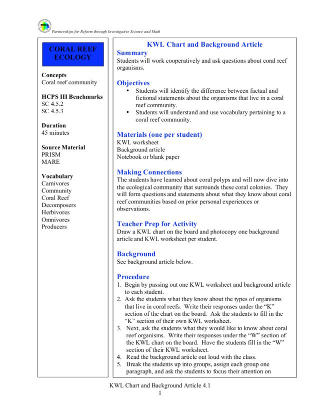 KWL Chart and Background Article 3rd 5th Grade Lesson Plan – Kwl Worksheet