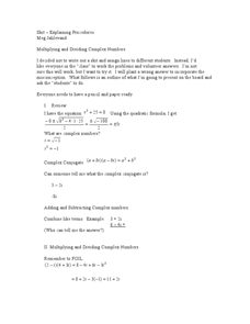Multiplying and Dividing Complex Numbers Lesson Plan