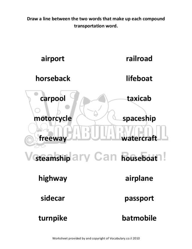 Transportation Compound Words Worksheet for 2nd Grade | Lesson Planet
