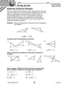 Exploring Congruent Triangles Worksheet