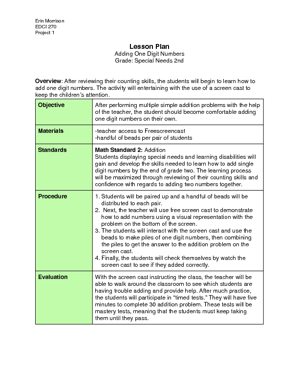 simple addition lesson plan Lesson plans the easy way formats that are most useful are very simple to follow and are well since this is the very first lesson on addition.