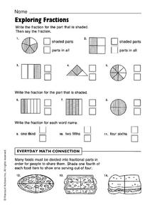 Exploring Fractions Worksheet