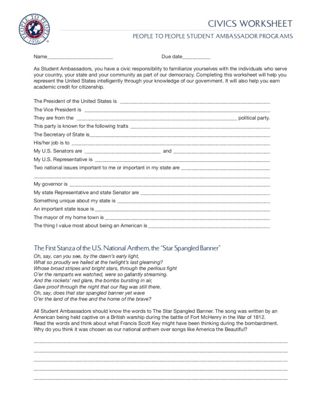Civics Worksheet People to People Student Ambassador Programs 8th – Civics Worksheets