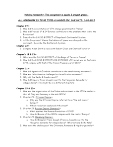 Holiday Homework: Global Studies Worksheet