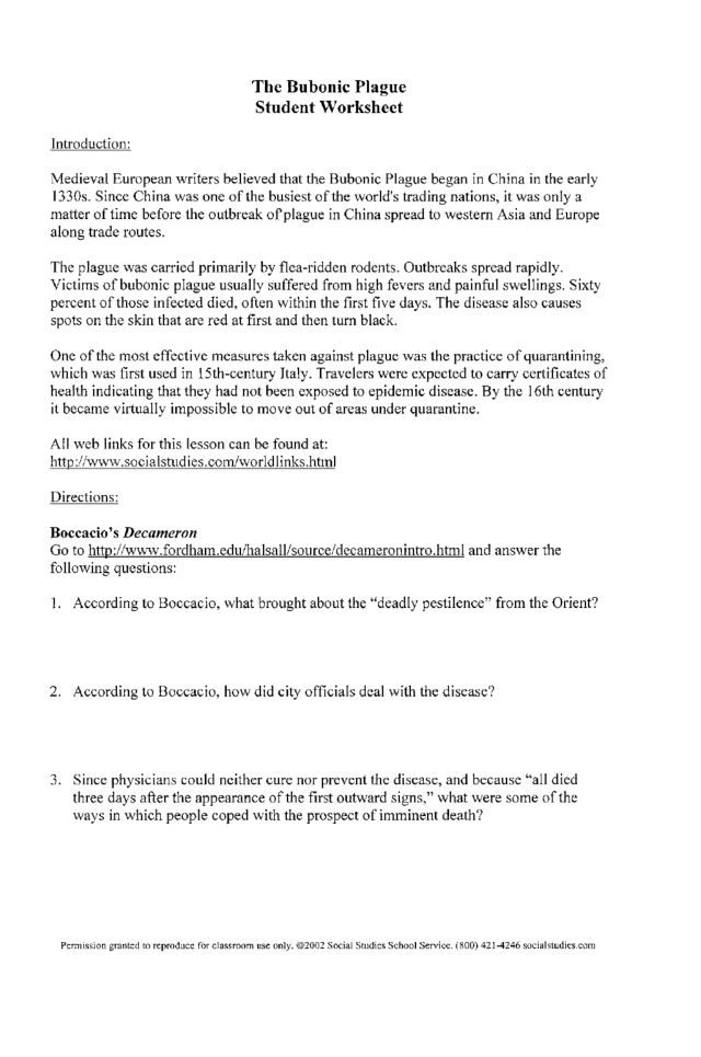 The Bubonic Plague Student Worksheet 8th 12th Grade Worksheet – Black Death Worksheet
