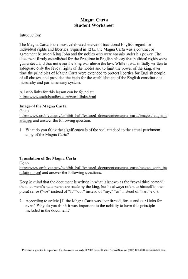 Worksheets Magna Carta Worksheet magna carta student worksheet 9th 12th grade lesson planet