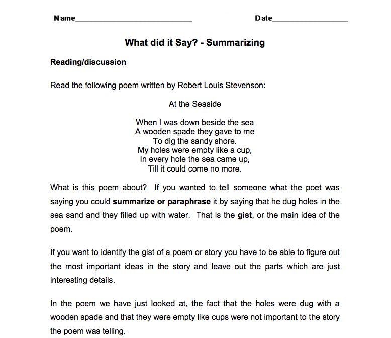 What did it Say? – Summarizing Worksheet
