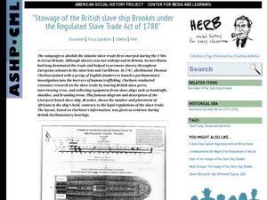 Stowage of the British slave ship Brookes under the Regulated Slave Trade Act of 1788 Worksheet