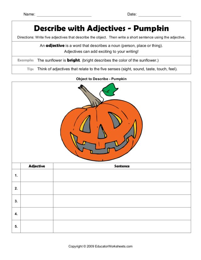 Describe with Adjectives - Pumpkin Worksheet for 2nd - 3rd Grade ...