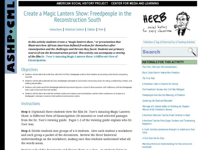 Create a Magic Lantern Show; Freed People in the Reconstruction South Lesson Plan