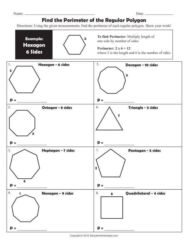 Printable Worksheets grade 2 perimeter worksheets : Find the Perimeter of the Regular Polygon Worksheet for 4th - 6th ...