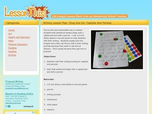 Writing Lesson Plan: Stop and Go: Capitals and Periods Lesson Plan