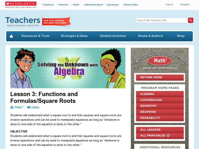 Solving the Unknown with Algebra: Lesson 3: Functions and Formulas/Square Roots Lesson Plan