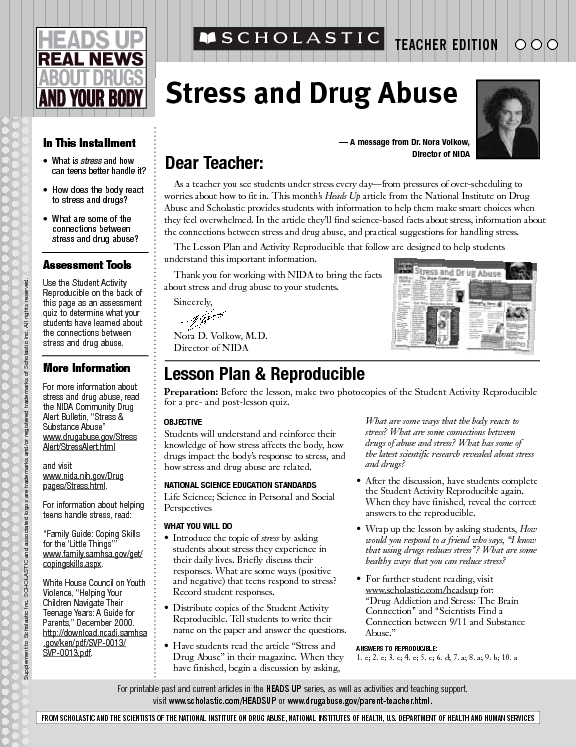 picture relating to Stress Quiz Printable known as Strain and Drug Abuse Lesson Program for 6th - 12th Quality