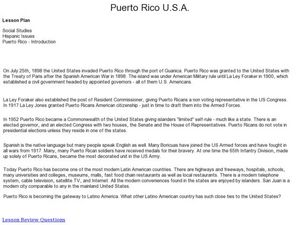 Puerto Rico U.S.A and Introduction Lesson Plan