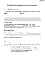 Worksheet #10:  Transportation and Communication Worksheet